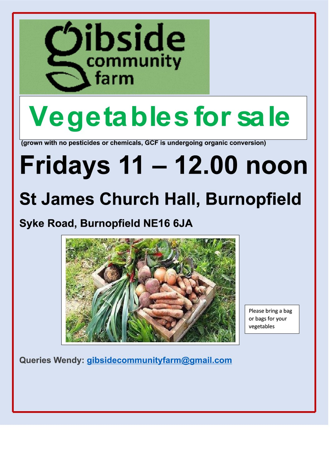 GCF Vegetables for sale in Burnopfield